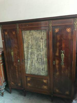 Large Louis Xv Mahogany Bookcase/cabinet With Inlay & Bronze Escutcheons/ormolus