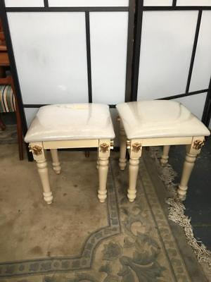 French Provincial Style  Stool Carved With Gold Accents ..brand New.. 1 Of 2