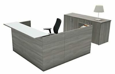 Amber L-Shape Reception Office Desk Shell with Glass Counter - Valley Grey