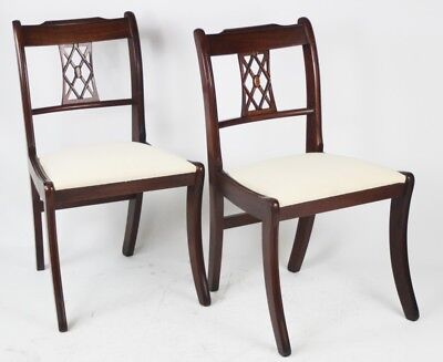 Pai of Antique Sheraton Style Mahogany Dining Chairs - FREE Shipping [PL4345]