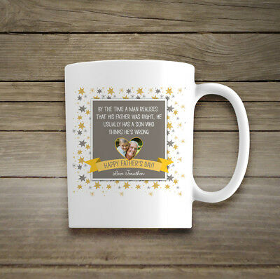 Personalised Photo Ceramic Mug Gift His Dad Cup Fathers Day Birthday Christmas