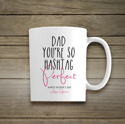 Personalised Name Ceramic Mug Gift Perfect Dad Mum Cup Fathers Day Birthday Xmas