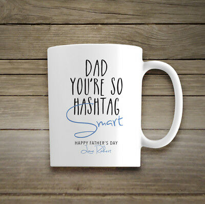 Personalised Name Ceramic Mug Gift Smart Dad Mum Cup Fathers Day Birthday Xmas