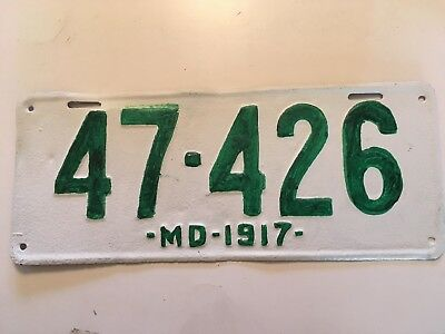 1917 Maryland License Plate 100+ Years Old PRICED TO SELL