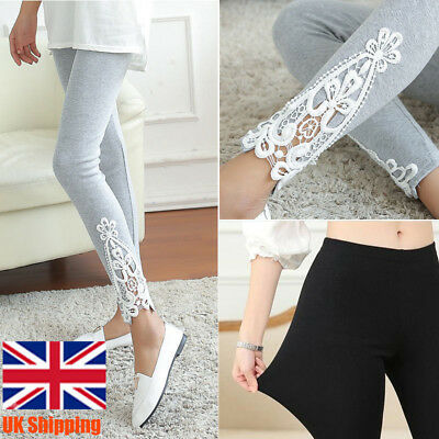 Women Summer Breathable Slim Lace Skinny Stretch Trousers Leggings Long Pants UK