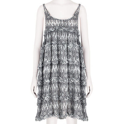Thomas Wylde Black White Butterfly Print Silk Chiffon Babydoll Dress XS UK6 IT38