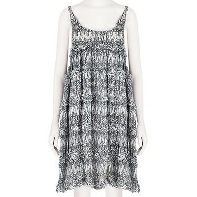 Thomas Wylde White Black Butterfly Print Silk Chiffon Babydoll Dress S UK8 IT40