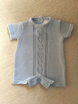 BABY BOY SPANISH STYLE KNITTED BABY BLUE  COTTON ROMPER 3/6 or 6/12  MONTHS BNWT