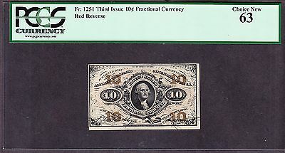 US 10c Fractional Currency Red Back FR 1251 PCGS 63 Ch CU (428)