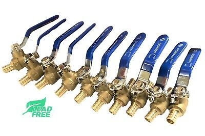 "(10) 1/2"" PEX Brass Ball Valve, Full Port, Crimp, Shut-off Valves for PEX Tubing"