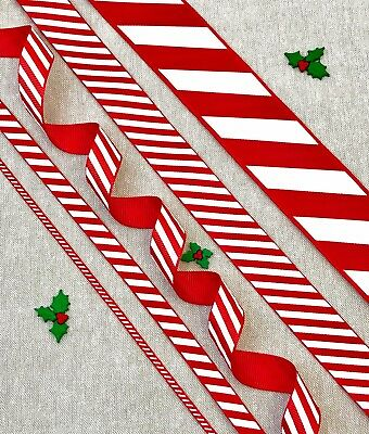 Red & White Candy Stripe Ribbon Christmas Tree Cake Candy Cane Xmas Hamper Sweet