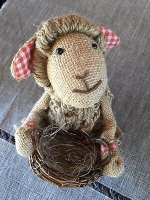 Burlap & Twine Sheep Lamb Figure With Basket *Hancock Fabrics Down on the Farm*