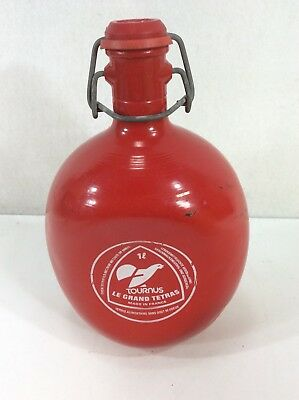 VIntage French Metal Aluminum RED FLASK LE GRAND TETRAS 1 L RARE