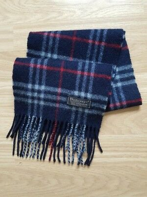 Childrens Burberrys Navy Nova Check Scarf 100% Lambswool (C056)