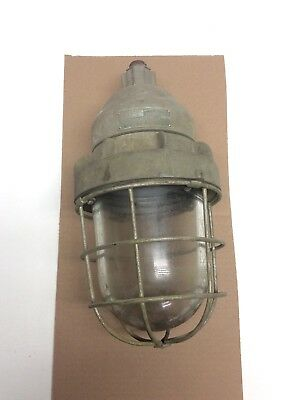 """Antique Russell & Stoll Brass Industrial Caged Light Fixture Art Deco Large 16"""""""