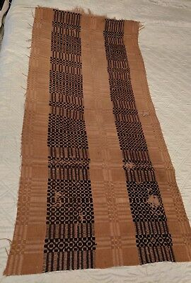 Antique 19Th Century Handwoven Wool Early Jacquard Primitive Fabric For Pillows