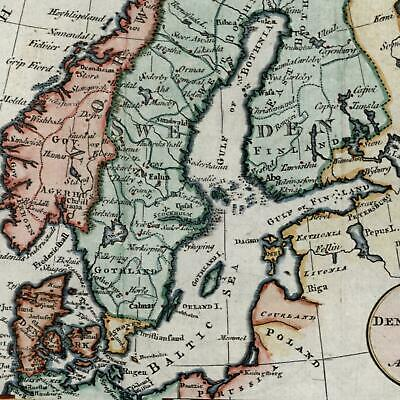Sweden Denmark Norway Scandinavia 1788 Kitchin old antique map hand color