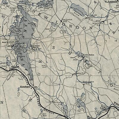 Lake Sunapee environs New Hampshire c.1890's B & L R.R. line color litho old map