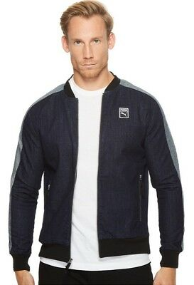 2ad5565e04ba  90 NWT MENS PUMA CLASSIC T7 JACKET sz LARGE BLUE Gray Denim Full ...