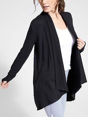 Athleta 777944 Black Pranayama Wrap Cardigian Sweater Nwt Retails For $89 Xl