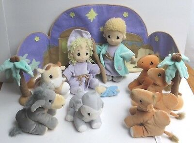 Precious Moments Tender Tails 1999 12 piece Plush Nativity Set Mary Joseph Baby