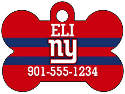 New York Giants Custom Pet Id Dog Tag Personalized w/ Name & Number