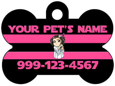 Disney Star Wars Princess Leia Pet Id Dog Tag Personalized w/ Name & Number