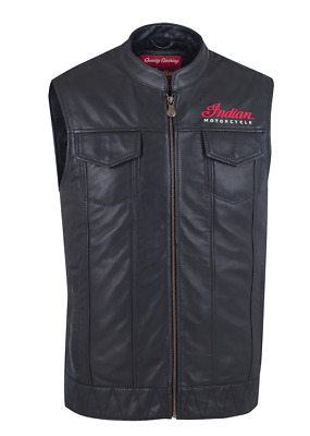 2018 Indian Motorcycle Mens Black Genuine Leather Outsider Vest Logo L Xl 3Xl
