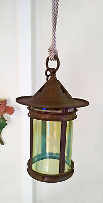 Antique Arts & Crafts Brass Vaseline Opalescent Lamp Light Glass Lantern