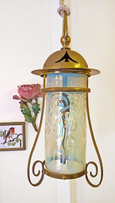 Antique Arts & Crafts Art Nouveau Brass Vaseline Opalescent Lamp Glass Lantern