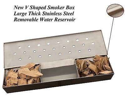 New V Shaped Smoker Box Large Thick Stainless Steel Removable Water Reservoir