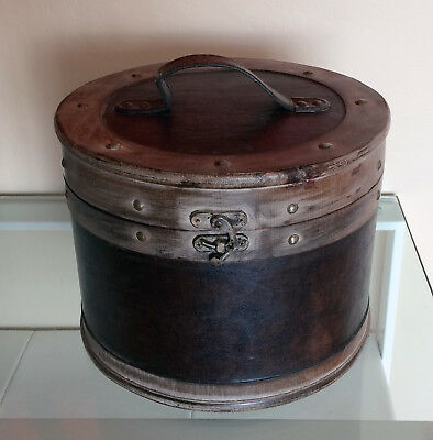 Plywood and Faux Leather Hat Box - NEAR MINT