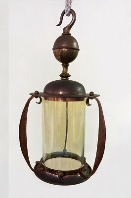 English Antique Arts & Crafts Uranium Vaseline Glass Shade Brass Lamp Lantern