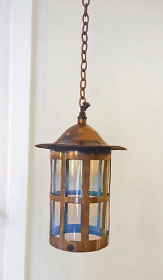 English Antique Brass Opalescent Glass Lamp Shade Hanging Lantern