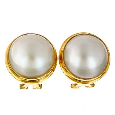 "11/16"" WHITE MABE PEARL 24K GOLD VERMEIL 925 STERLING SILVER OMEGA POST earrings"