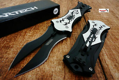 """8"""" Black Spring Assisted Scorpion Double Blade Knife with Silver Handle Folding"""