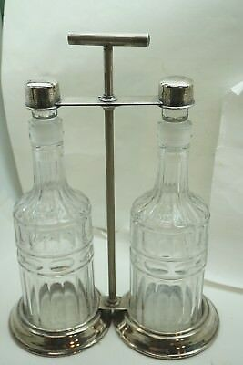 ANTIQUE TANTALUS SILVERPLATE 2 DECANTERS CRYSTAL LIQUOR BERNARD RICE SONS  d