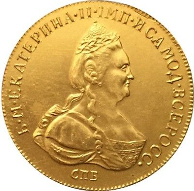 1780 24-K Gold Plated Russia 10 Roubles Gold Coin