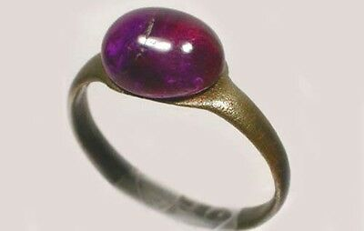 Genuine AD200 Roman Hungary Bronze Ring Size 8 Antique 18thC 2½ct+ Amethyst