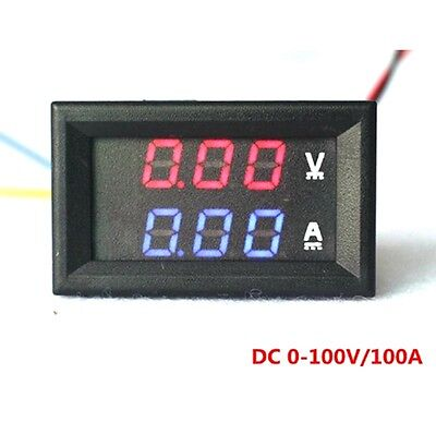 DC 100V 50A Voltmeter Ammeter Blue+Red LED Amp Dual Digital Volt Meter Gauge