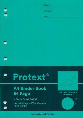 Protext A4 PP Cover Binder Book 64 Page Dinosaur Reference GREEN  *NB5041*