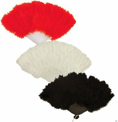 Flapper Feather Hand Fan Black Red White Burlesque Showgirl Hen Night Accessory