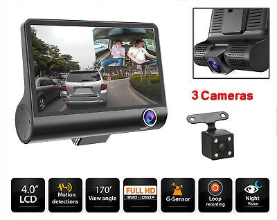 "4,3"" 1080P 3 Lens Auto DVR Rearview Camera Video Dashcam Recorder KFZ Kamera"