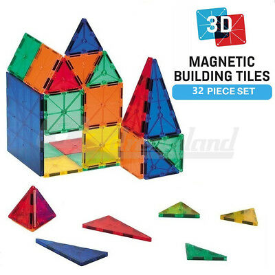 Magnetic Tiles 3D Clear Colour Building Blocks Toy Construction Play Toy 32PCS