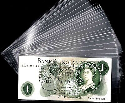 Lot 100 Clear Plastic Banknote Sleeves 7.5 cm X 16 cm