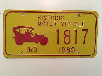 1989 Indiana License Plate historic Motor Vehicle Glossy Nice LOW $3.99 SHIPPING