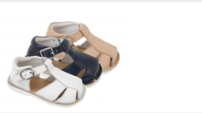 Baby Boy Official Spanish Genuine Leather Summer Shoes Beige White Navy Sandals