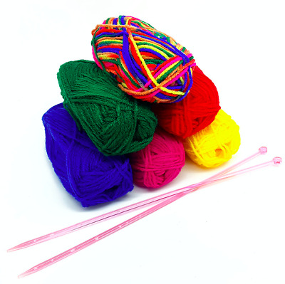 Knitting Starter Beginners Kit with Knitting Needles Wool Rainbow Coloured Yarn