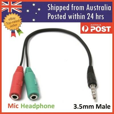 3.5mm Male to 2 Dual Female Plug Jack Audio Stereo Headset Mic Splitter Cable