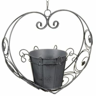Vintage Style Heart Shaped Hanging Planter Grey 14 39 Picclick Uk